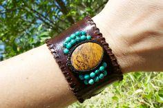 Leather Cuff Bracelet Elephant Skin Jasper by PeaceofStoneStudio