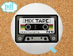 Mix Tape cross stitch pattern. Instant digital download. Retro cassette, eighties