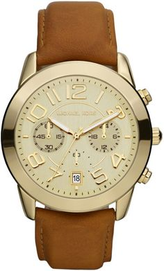 Michael Kors Ladies Mercer Chronograph Watch with Leather Strap