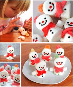 Marshmallow edible snowman craft
