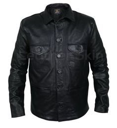 Men Black Leather Coat with button closure chest pockets and front - Leather Skin Shop Leather Top Hat, Purple Leather Jacket, Long Leather Coat, Leather Jacket With Hood, Leather Blazer, Leather Men, Black Leather, Best Leather Jackets, Look Cool