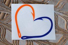 UF Gator Fan Hook Heart Blue and Orange by DirtySouthDecals, $5.00