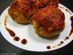 Chicken meatballs with a tomato-balsamic glaze.