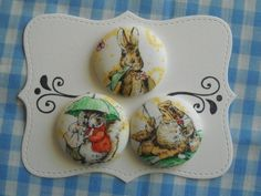 Peter Rabbit fabric covered button collection 2 by howbeadyful, $6.85