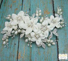 Pearl boda pinza peine del Rhinestone por AllureWeddingJewelry