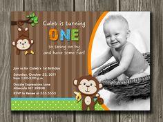 Monkey Birthday Invitation FREE thank you by DazzleExpressions. $13.00, via Etsy.