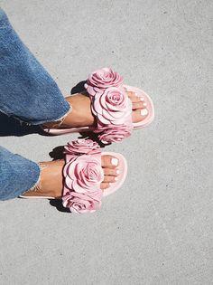 Eddie Rose Flatform Sandal   Statement flatform slides featuring colorful fabric flowers and a molded footbed.