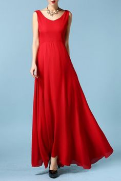 Chic V Neck Sleeveless Solid Color Backless Women's Maxi Dress