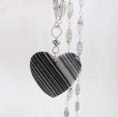 Zebra Agate Heart Pendant , Black Rutilated Quartz, Black and white, Natural Gemstone Necklace, Sterling silver, Handwrapped