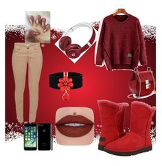°Red Ugg Boots° by paibear on Polyvore featuring polyvore fashion style Barbour UGG Beats by Dr. Dre clothing