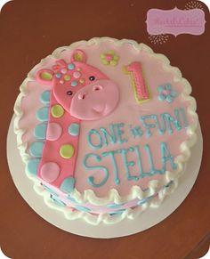 Freya birthday Giraffe Birthday Cakes, Giraffe Cakes, First Birthday Cakes, Girl First Birthday, First Birthday Parties, Birthday Ideas, Giraffe Party, Kylie Birthday, Safari Birthday Party