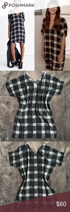 """Madewell B+W Dress 🔥 As seen on TV! Cece from """"New Girl"""" wore this popular dress in Season 6. The dress features a front zip and large B+W buffalo check pattern. The fabric is Viscose and in my opinion resists wrinkles well. Barely worn, in great condition. Falls 35 1/8"""" from highest point of bodice. Size is XS but the style is slightly oversized. Madewell Dresses Mini"""