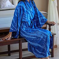Women's batik robe, 'Sea of Sapphire'
