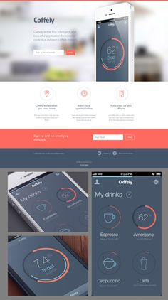 Coffely landing page and iOS app interface