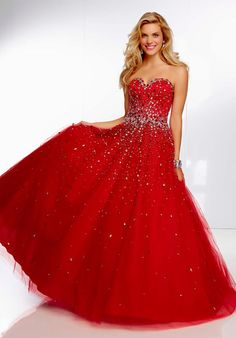 MZ0354 Ball Gown Hot Red Tulle Crystals Diamonds Sweetheart Strapless Prom Dresses Long  $172.96