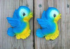 Vintage 1970 Chalkware Blue Bird Plaques Wall by Raidersoflostloot