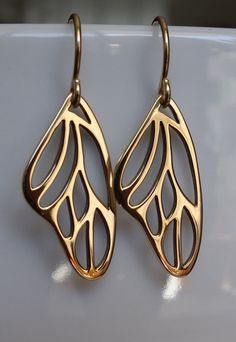 Bronze Butterfly Wing Earrings dangle earringsdrop by Popsicledrum, $24.00