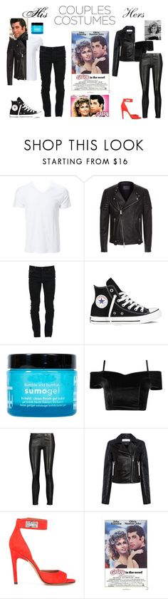 """Couple Costume: Sandy and Danny"" by haileywilliamson323 ❤ liked on Polyvore featuring Simplex Apparel, AllSaints, Marcelo Burlon, Converse, Bumble and bumble, J Brand, IRO, Givenchy, movieNight and contestentry"