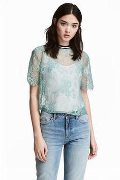 Lace top - Pistachio green - Ladies | H&M IE 1