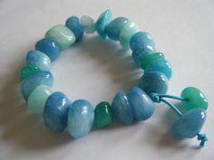 Jade bracelet. Sea shore - Jelly bean style dyed Jade stretch bracelet by jaynebrownjewellery on Etsy