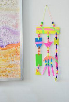 Neon Modern Mobiles for Kids - Meri Cherry 3d Art Projects, Projects For Kids, Diy For Kids, Crafts For Kids, Arts And Crafts, Neon Crafts, Mobiles For Kids, Mobile Art, Process Art