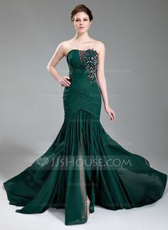 Evening Dresses - $152.99 - Mermaid Sweetheart Court Train Chiffon Evening Dress With Ruffle Lace Beading Sequins (017019743) http://jjshouse.com/Mermaid-Sweetheart-Court-Train-Chiffon-Evening-Dress-With-Ruffle-Lace-Beading-Sequins-017019743-g19743