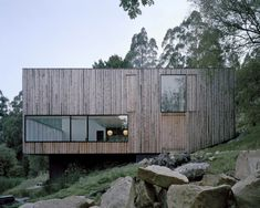 Wooden Clad House on a Hillside of Mount Wellington in Australia