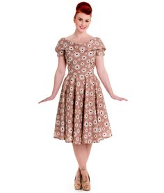 b7056f1a492 Tiger Milly - Robe Florale à Pois Style Années 1950 Cindy Hell Bunny -  Beige