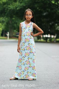 How to make a maxi dress from a t-shirt pattern. Free tutorial.