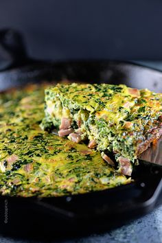 Ham and Spinach Frittata - Delicious one-dish meal that is simply perfect for brunch or supper! A favorite anytime, but especially when I need to get a meal done quickly! from ©addapinch.com