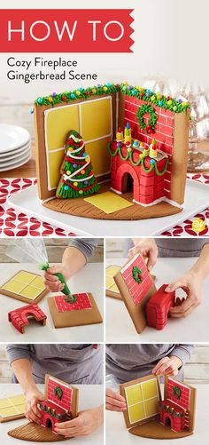 Create a gingerbread room to look just like yours on Christmas Morning! The candy stockings and Christmas tree cookie make this 3D gingerbread room come to life. If you\'re looking for a new holiday tradition, this is one the whole family will love! #wiltoncakes #gingerbreadhouse#gingerbreadhousetechniques #gingerbreadhouseparty#gingerbreaddesign #3D #christmas #gingerbreadhouses #tradition#fireplace #candy #icing