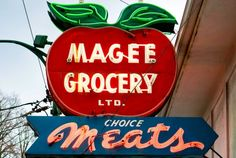 Magee Grocery old neon sign, Kerrisdale BC.