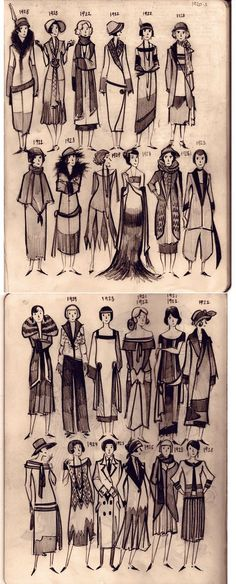 waist lines began to drop to between the natural waist and the hip; 1924 waistlines drop to the hip; 1928 hem lines start to rise to the knee vintage fashion history evolution of the hem waistline 1920 Style, Style Année 20, Vintage Style, Petite Style, 1920 Women, 1920s Fashion Women, Fashion Vintage, Ladies Fashion, Vintage Fashion Sketches