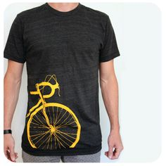 A personal favorite from my Etsy shop https://www.etsy.com/ca/listing/183002278/bike-t-shirt-mens-unisex-yellow-road