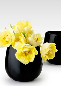 Jamali Garden Black Glass Vase... would like to fill with creamy white dahlias and dusty miller