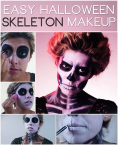 Follow this tutorial for an easy and awesome skeleton Halloween makeup look