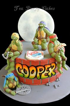 """I made this Teenage Mutant Ninja Turtles cake for my friend's son who is celebrating his 6th birthday this weekend. It's an 8 inch buttercream cake with fondant details and figures. I received a very sweet phone call from little Cooper thanking me for his """"cool"""" cake which made all the work that went into it so well worth it! :) TFL! Turtle Birthday Parties, Ninja Turtle Birthday, Ninja Turtle Party, Birthday Ideas, 4th Birthday, Ninja Cake, Tmnt Cake, Lego Cake, Ninja Party"""