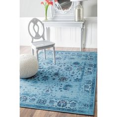 For my window sitting area w/ rocker and spinning wheel -  nuLOOM Traditional Vintage Inspired Overdyed Floral Turquoise Rug (5' x 8')