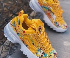 Shop Women's Fila Yellow size 9 Athletic Shoes at a discounted price at Poshmark. Sold by brishayp. Sneakers Fashion, Fashion Shoes, Shoes Sneakers, Shoes Heels, Chunky Sneakers, Women's Sneakers, Black Sneakers, Platform Sneakers, Casual Sneakers