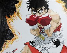 Drew Ippo Makunouchi from Fighting Spirit (AKA Hijame No Ippo) Have any of you guys ever watched this anime? (Its older but at the same time I still believe they are making new episodes!) If you want to watch me draw him click here!: https://www.youtube.com/watch?v=rBf8DX-Vsp0   (Sorry the picture isn't the best. I actually fixed the background after I took the picturexP)