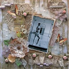 Follow Your Heart  Premade Scrapbook Page 12 x 12 Vintage, Shabby Chic, Rustic Chic, Layout