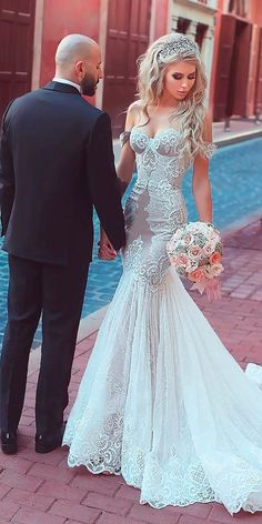30 Beach Wedding Dresses Perfect For Destination Weddings ❤️ beach wedding mermaid lace off the shoulder sweetheart said mhamad ❤️ See more: http://www.weddingforward.com/beach-wedding-dresses/ #wedding #bride