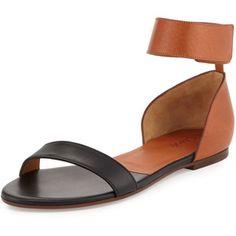 Chloe Two-Tone Leather Flat Sandal