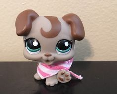 ++ Littlest Pet Shop Tan & Brown BOXER PUPPY #1197 Blue Eyes LPS Dog Curl Swirl  #Hasbro