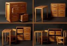 Space Saving Furniture Cupboard with Table and Chairs ~~ This is so cool, reminds me of a puzzle toy that grandpa made. Compact Furniture, Tiny House Furniture, Living Room Furniture Layout, Multifunctional Furniture, Space Saving Furniture, Home Furniture, Furniture Design, Furniture Ideas, Furniture Inspiration