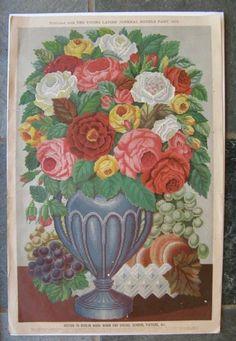 Berlin Wool Work Pattern, Young Ladies Journal 1875, Cheval Screen, Floral
