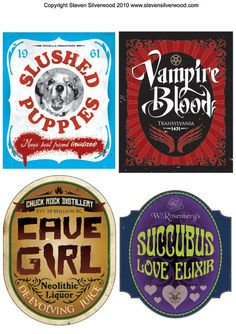 Halloween Bottle Labels - but labels taken off Flickr and no longer available to view.