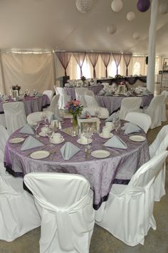 Purple and grey tented reception