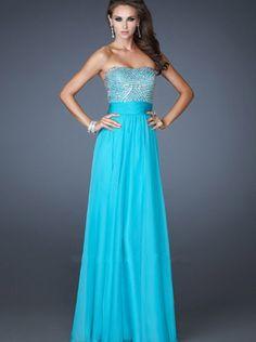 A-line Sweetheart Blue Chiffon Long Prom Dress Formal Dress/ Evening Dress La Femme 18121