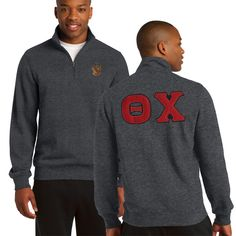 Theta Chi Heather Charcoal 1/4 Zip Sweatshirt with Sewn On Letters